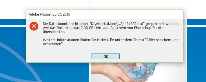 Photoshop 2GB-Limit beim Speichern