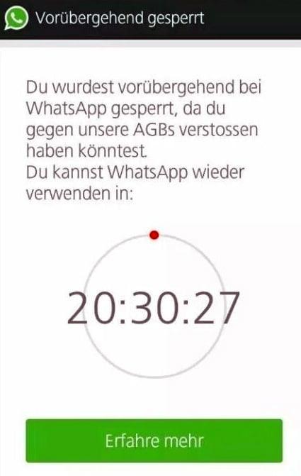 Bei WhatsApp gesperrt