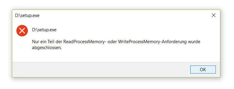 Gelöst: Nur ein Teil der ReadProcessMemory- oder WriteProcessMemory-Anforderung wurde abgeschlossen. 4
