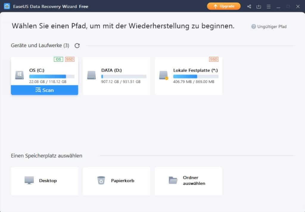 Gelöschte Dateien wiederherstellen - EaseUS Data Recovery Wizard 3
