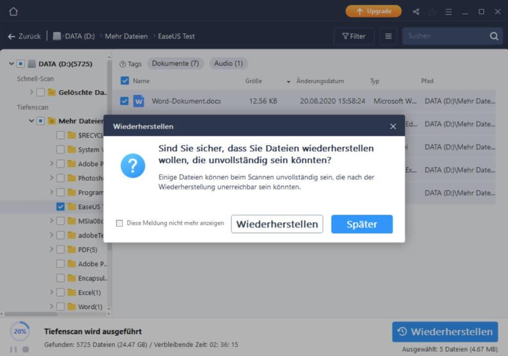 Gelöschte Dateien wiederherstellen - EaseUS Data Recovery Wizard 6