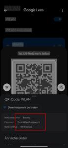 Das WLAN Passwort wird auf dem Android-Smartphone angezeigt.
